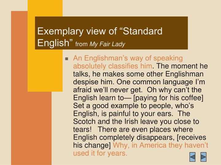 "Exemplary view of ""Standard English"""