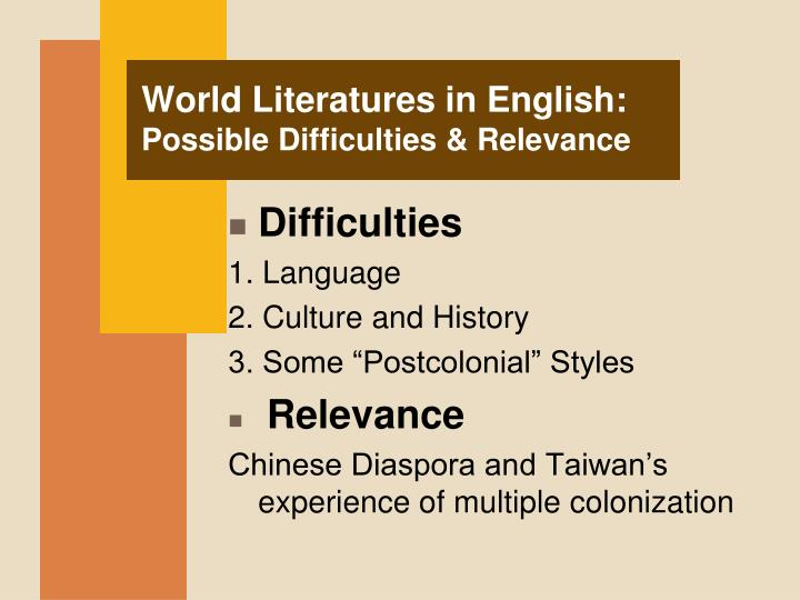 World Literatures in English: