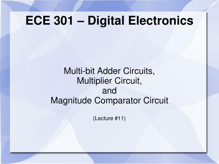 multi bit adder circuits multiplier circuit and magnitude comparator circuit lecture 11 n.