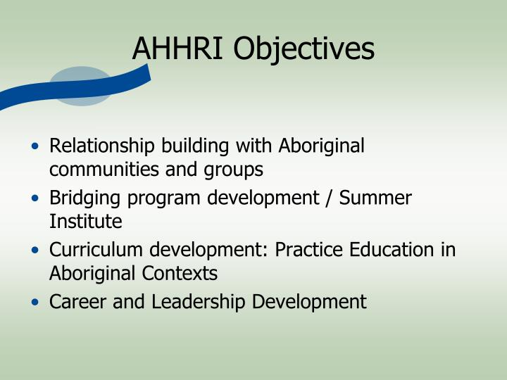 AHHRI Objectives