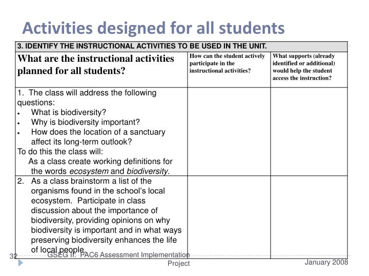 Activities designed for all students