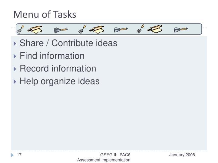 Menu of Tasks