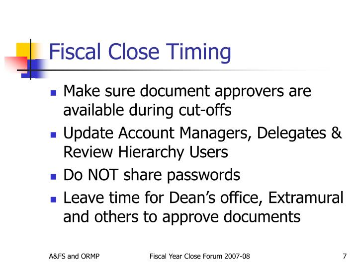 Fiscal Close Timing
