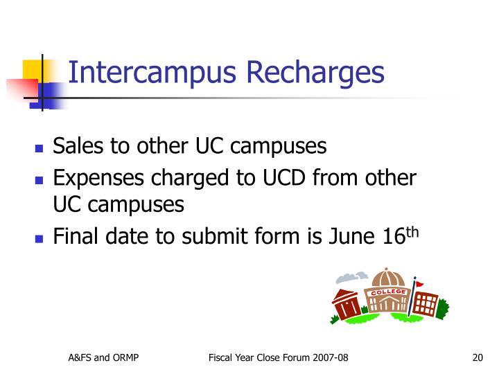 Intercampus Recharges
