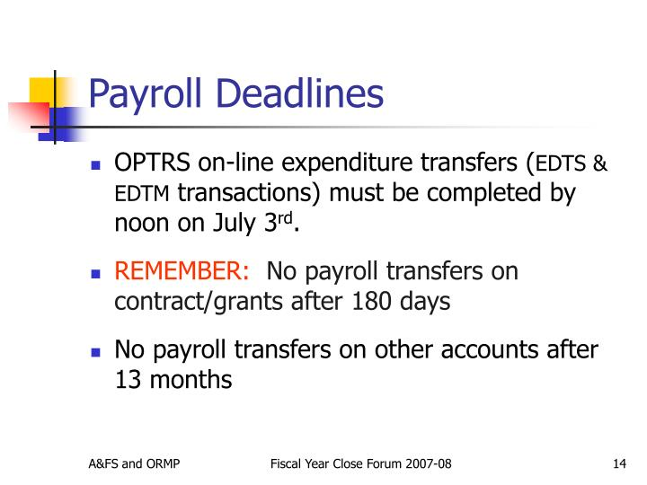 Payroll Deadlines