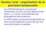 secteur rural organisation de la pr vision tendancielle