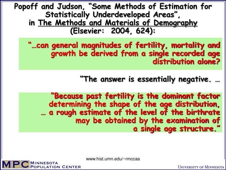 """Popoff and Judson, """"Some Methods of Estimation for Statistically Underdeveloped Areas"""","""