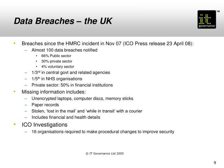 Data Breaches – the UK