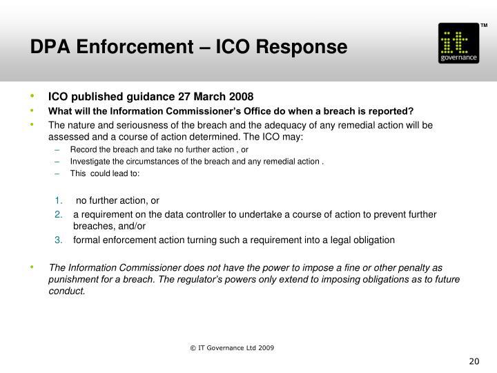DPA Enforcement – ICO Response