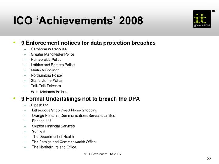 ICO 'Achievements' 2008