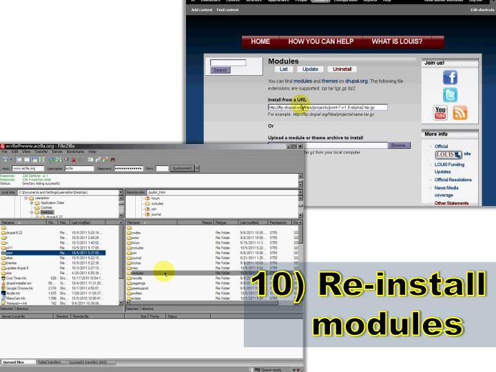 10) Re-install modules