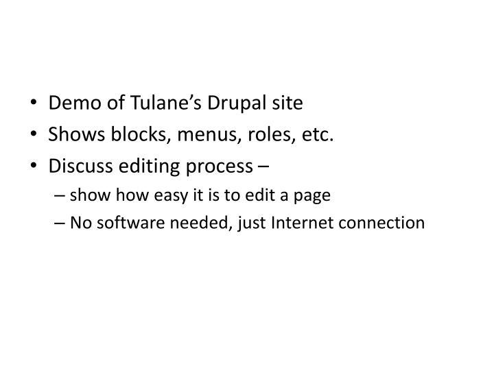 Demo of Tulane's Drupal site
