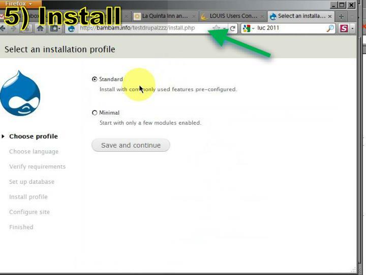 5) Install