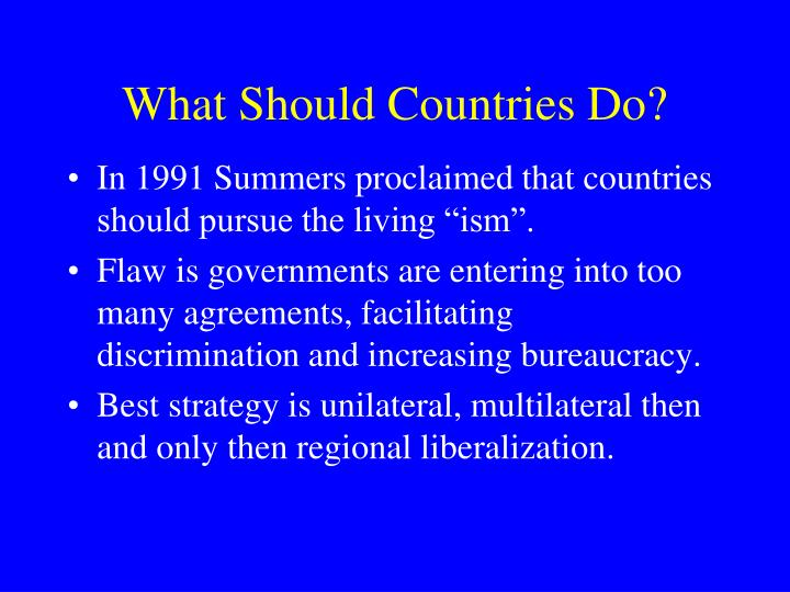 What Should Countries Do?