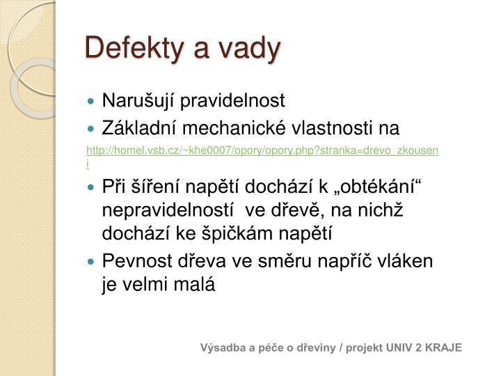 Defekty a vady