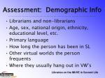 assessment demographic info