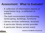 assessment what to evaluate