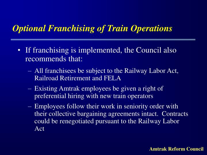 Optional Franchising of Train Operations