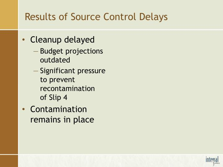 Results of Source Control Delays