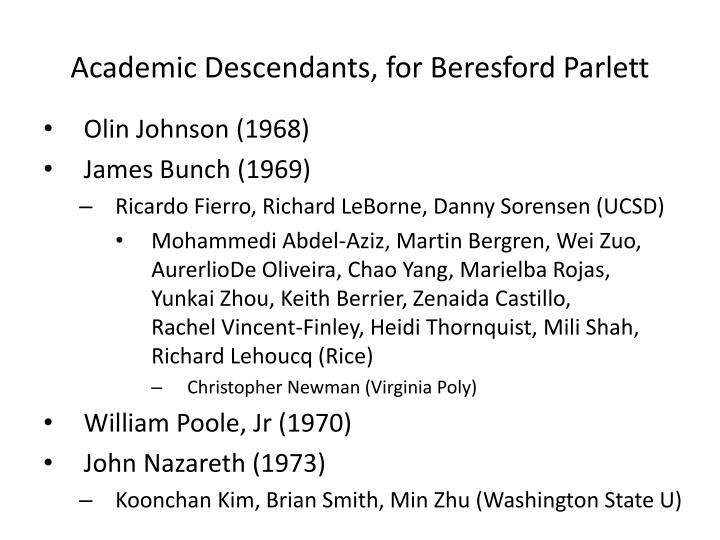 Academic Descendants, for Beresford