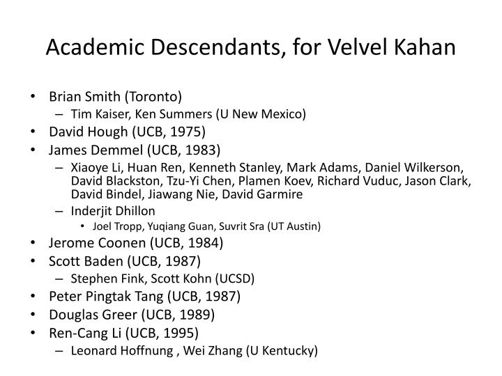 Academic Descendants, for