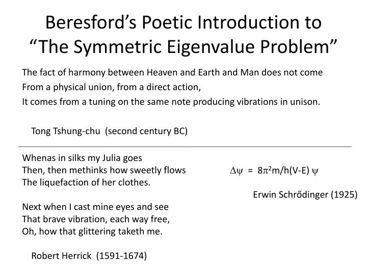 Beresford's Poetic Introduction to