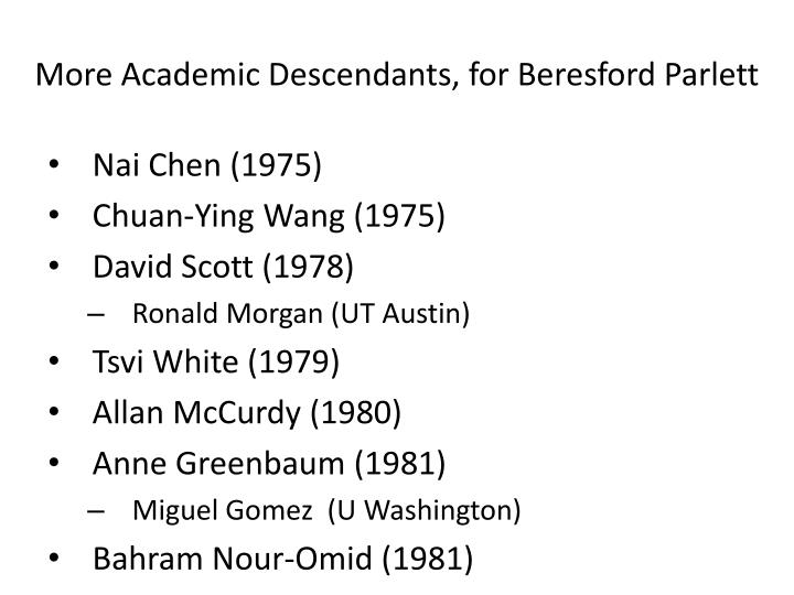 More Academic Descendants, for Beresford