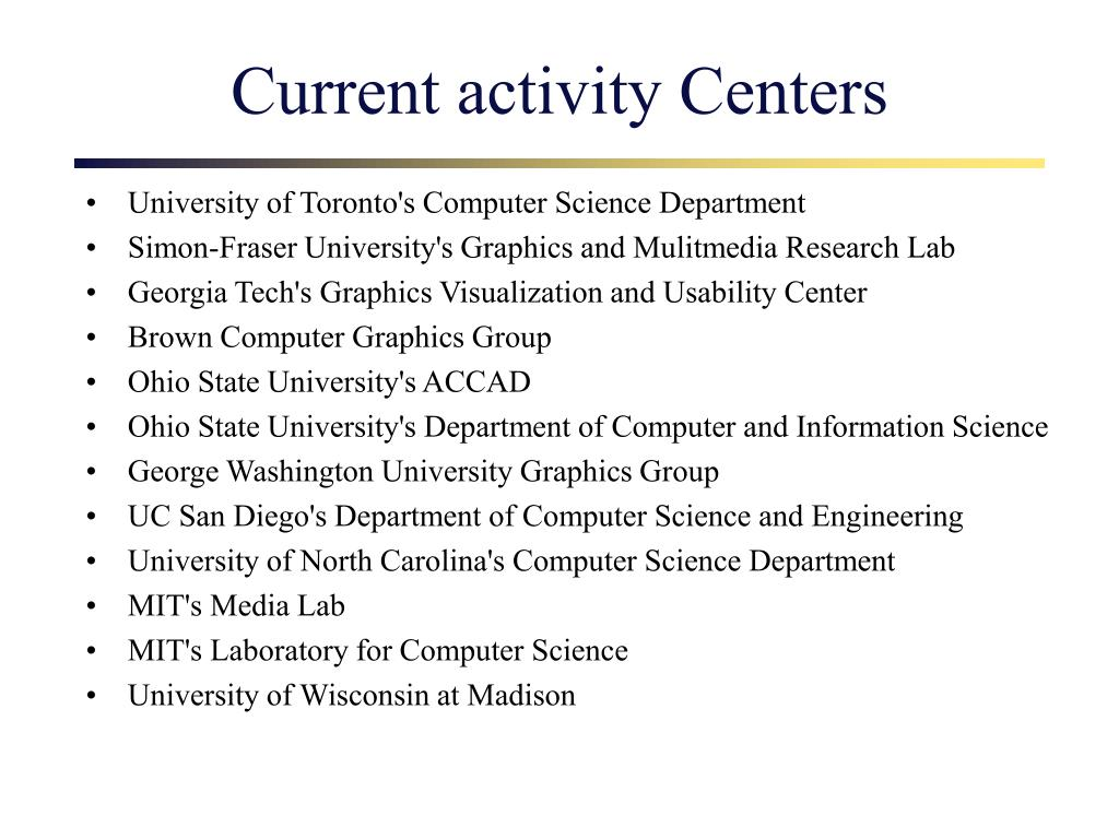 Current activity Centers