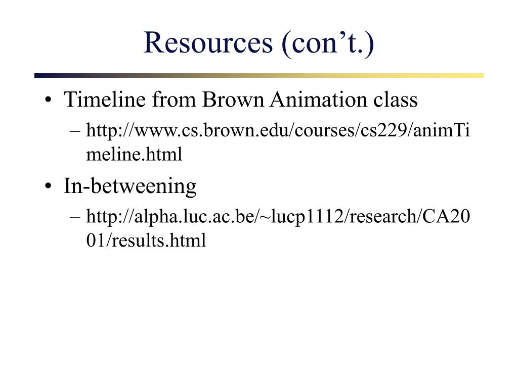 Resources (con't.)