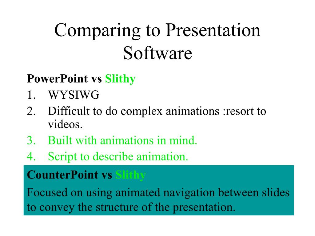 Comparing to Presentation Software