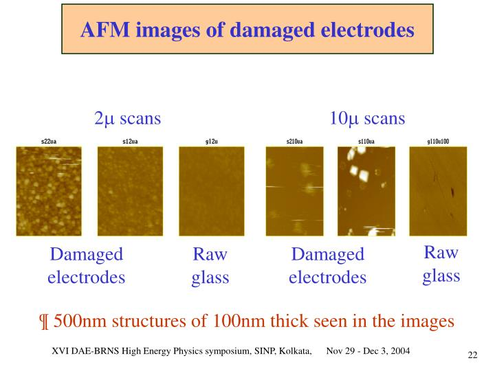 AFM images of damaged electrodes