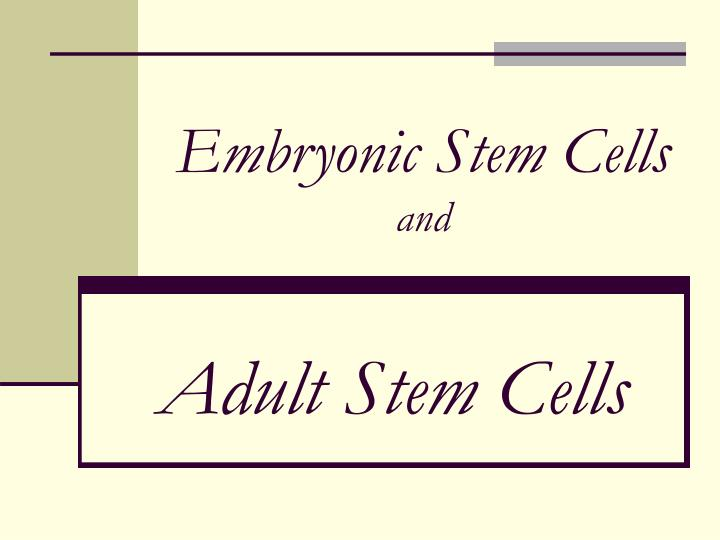 embryonic stem cells and n.
