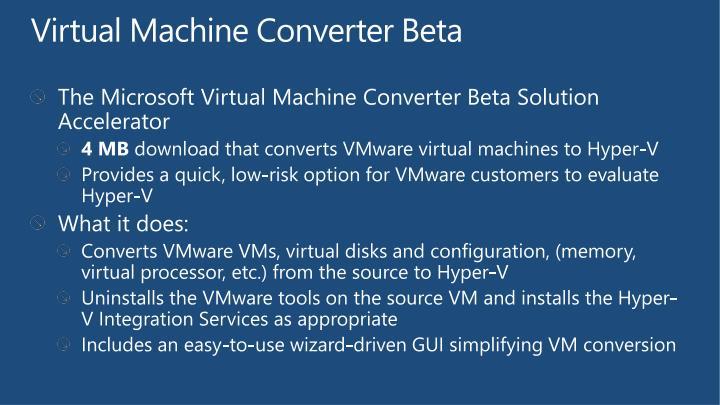 Virtual Machine Converter Beta