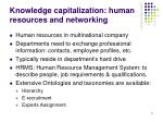 knowledge capitalization human resources and networking