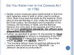did you know that in the coinage act of 1792