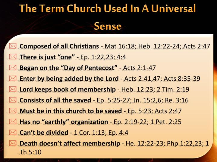 The Term Church Used In A Universal Sense