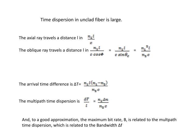 Time dispersion in unclad fiber is large.