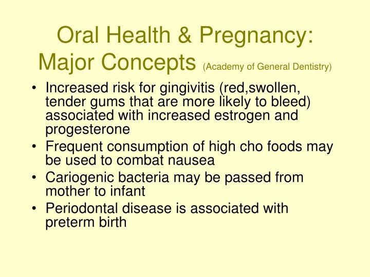 Oral Health & Pregnancy:  Major Concepts