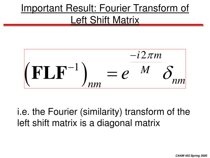 Important Result: Fourier Transform of Left Shift Matrix