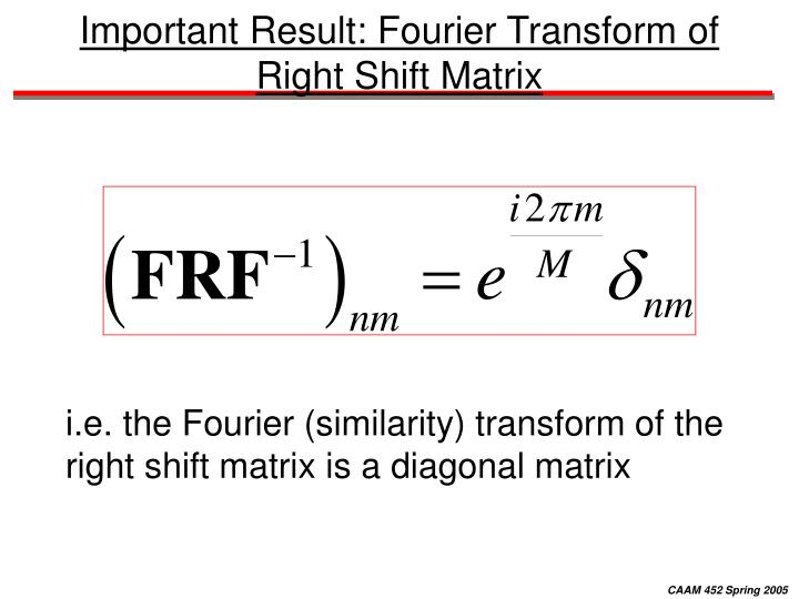 Important Result: Fourier Transform of Right Shift Matrix