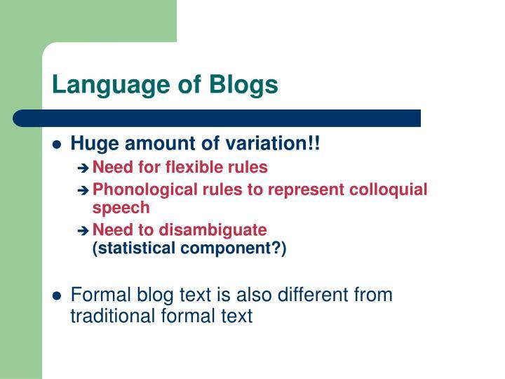 Language of Blogs