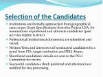selection of the candidates