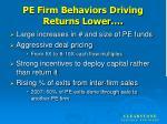 pe firm behaviors driving returns lower
