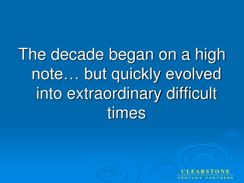 The decade began on a high note… but quickly evolved into extraordinary difficult times