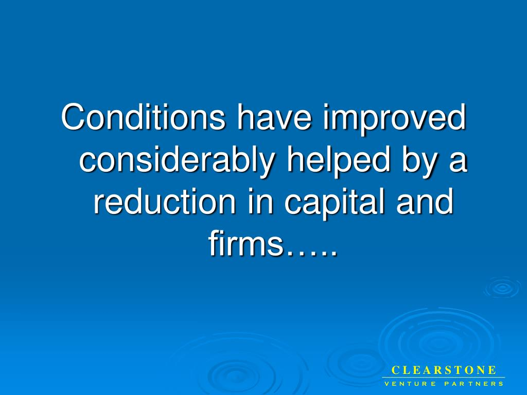 Conditions have improved considerably helped by a reduction in capital and firms…..