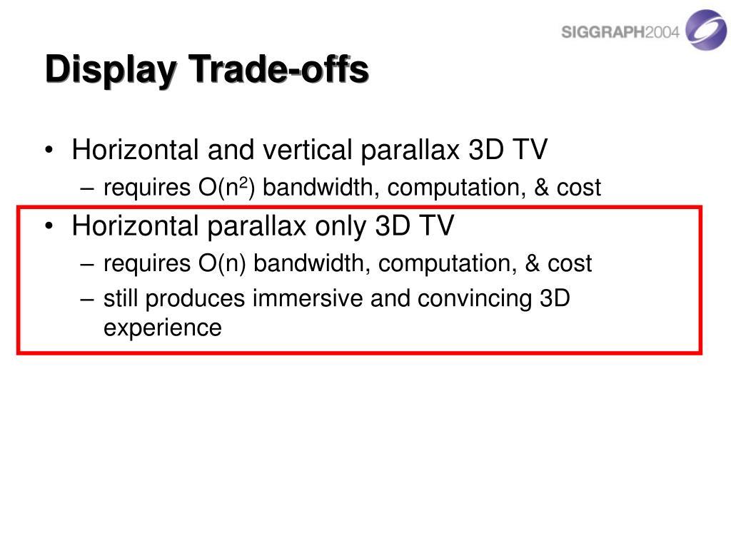 Display Trade-offs