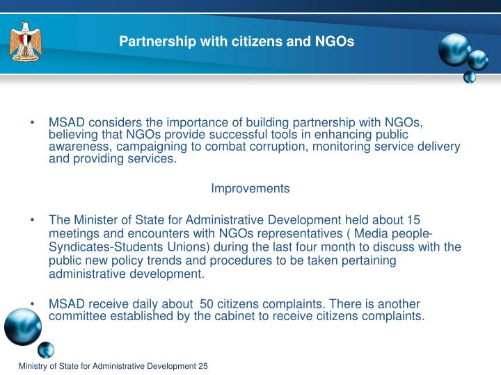 Partnership with citizens and NGOs