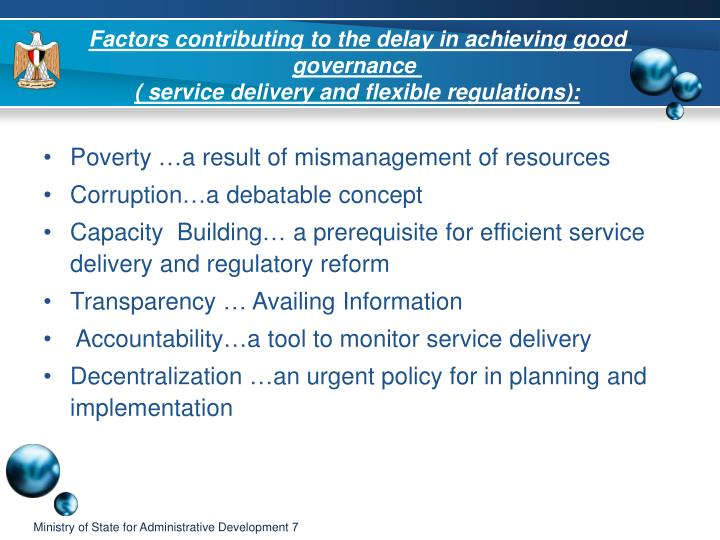 Factors contributing to the delay in achieving good governance