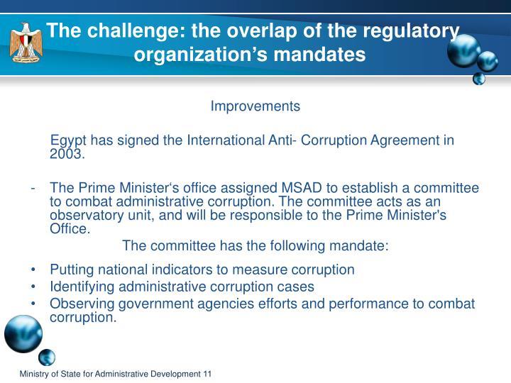 The challenge: the overlap of the regulatory organization's mandates