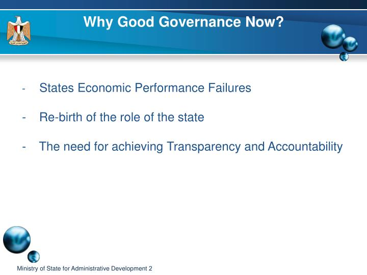 Why good governance now